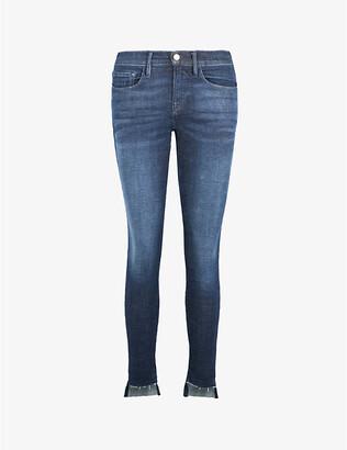 Frame Ladies Blue Cotton Le Skinny De Jeanne Mid-Rise Jeans, Size: 23