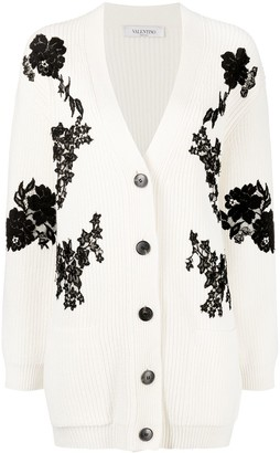 Valentino Oversized Lace Inserts Cardigan