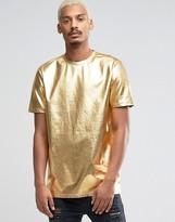 Asos Longline Metallic T-Shirt In Gold