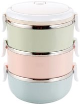 Jiyaru 3 Layer Thermal Stainless Steel Lunch Box Heat Cold Insulated Food Storage Container