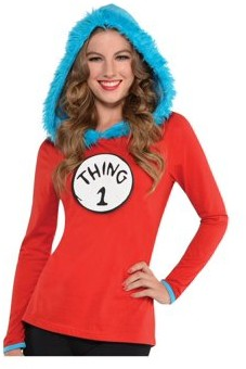 Dr. Seuss Women's Thing 1 and Thing 2 Hooded Shirt