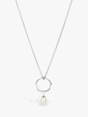 Claudia Bradby Dream Catcher Freshwater Pearl Pendant Necklace, Silver