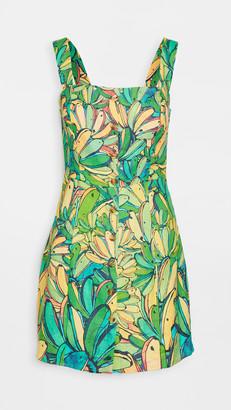 Farm Rio Green Banana Linen Mini Dress
