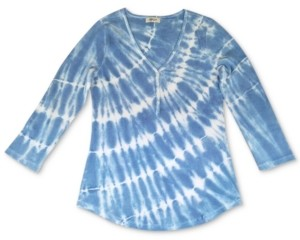 Style&Co. Style & Co Tie-Dyed Waffle-Knit Henley Top, Created for Macy's