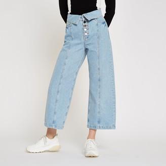River Island Womens Light Blue Alexa wide leg cropped jeans
