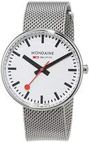 Mondaine Unisex Quartz Watch with White Dial Analogue Display and Silver Stainless Steel Bracelet A763.30362.11SBM
