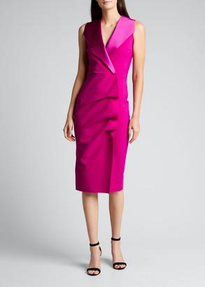 Chiara Boni Deniz Ra Satin Collar Sheath Dress