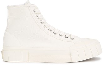 Good News Juice white woven canvas hi-top sneakers