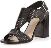 Prada Perforated T-Strap Sandal, Nero
