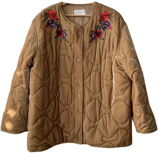 Sandro Ecru Velvet Coat for Women
