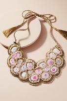 Anthropologie Pebbled Pink Bib Necklace