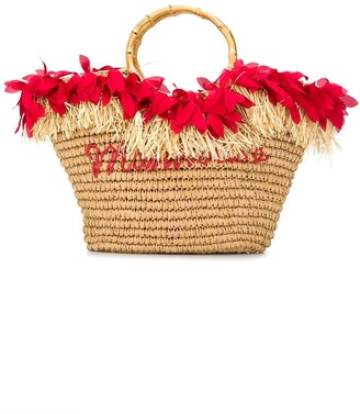MonnaLisa Logo Straw Tote Bag