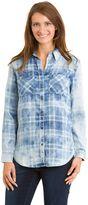 Haggar Women's Plaid Rolled-Sleeve Button-Down Shirt
