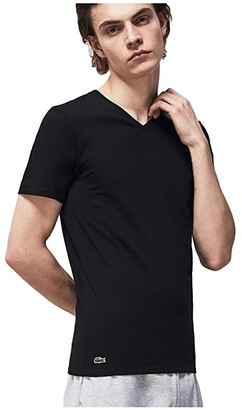Lacoste 3-Pack V-Neck Slim Fit Essential T-Shirt (Black) Men's Clothing