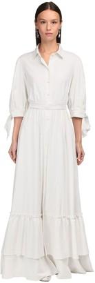 Luisa Beccaria Button-Up Linen Gauze Long Shirt Dress