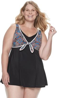 Plus Size Women's A Shore Fit! Bandana Tie Front Dress