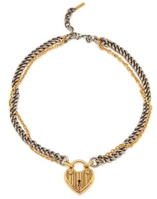 Mulberry Lucky Charm Big Heart Lock Necklace Gold and Silver Brass