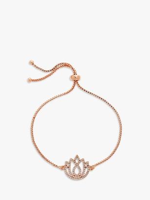 Melissa Odabash Swarovski Crystal Lotus Charm Box Chain Bracelet