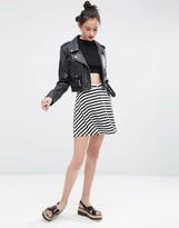 Asos Mini Skater Skirt with Poppers in Stripe