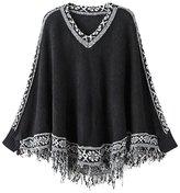 URqueen Women's V Neck Tassels Poncho Shawl Knit Sweater