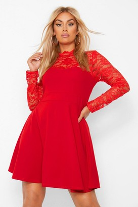 boohoo Plus Lace Contrast Skater Dress