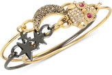 Betsey Johnson Two-Tone 3-Pc. Set Owl, Stars and Moon Bangle Bracelet Set