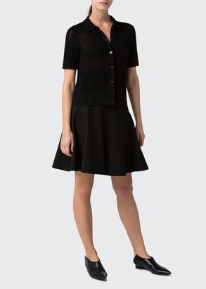Akris Punto Button-Front Short Sleeve Wool Cardigan