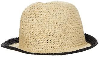 Kate Spade Heritage Stripe Crushable Fedora (Black) Caps