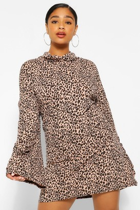 boohoo Plus Leopard Roll Neck Flare Sleeve Jumper Dress