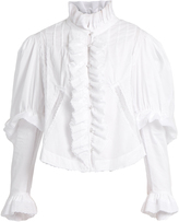 Natasha Zinko Ruffle and lace-trimmed cotton blouse