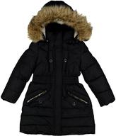 Catherine Malandrino Black Woven Faux Fur Hooded Puffer Jacket - Toddler & Girls