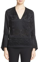 Derek Lam 10 Crosby Women's Eyelet Embroidered Silk Blouse