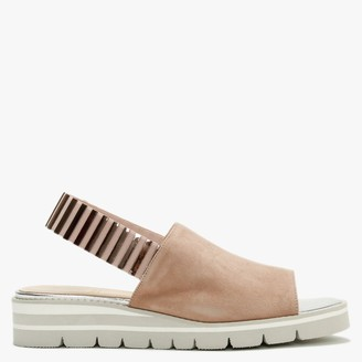 Luca Grossi Itarsi Nude Suede Striped Sling Back Sandals