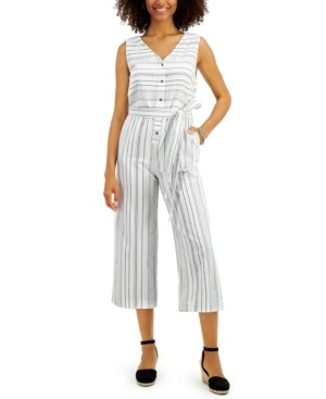 Style&Co. Style & Co Cotton Striped Sleeveless Wide-Leg Jumpsuit, Created for Macy's