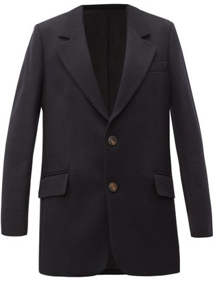 Ami Single-breasted Gabardine Blazer - Womens - Navy