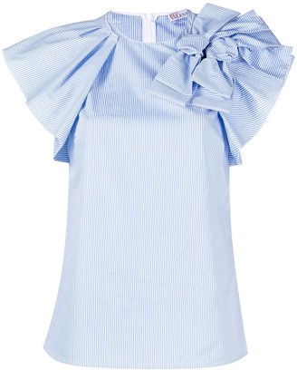 RED Valentino Pinstriped Bow-Embellished Blouse