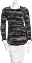 Etoile Isabel Marant Leather-Trimmed Crew Neck Sweater