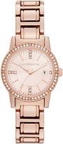 Liz Claiborne Womens Rose Gold-Tone Bracelet Watch