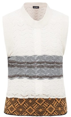 Raf Simons Lace-knitted Banded-hem Wool Sleeveless Sweater - Womens - Beige