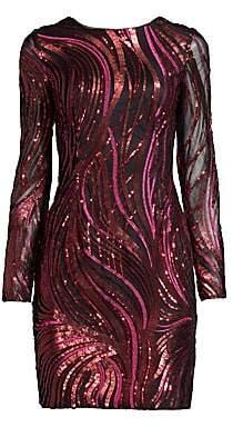 Aidan Mattox Women's Embroidered Sequined Sheath Dress