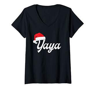 Ya-Ya Womens Christmas T-Shirt Santa Hat Pajama Family Matching Gift V-Neck T-Shirt