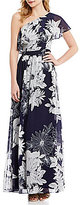 Vince Camuto Floral Ruffle One Shoulder Maxi Gown