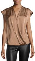 Halston Cap-Sleeve Wrap-Front Blouse, Light Rust