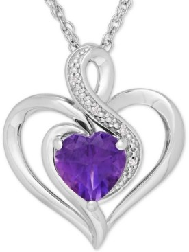 Macy's Birthstone Gemstone & Diamond Accent Heart Pendant Necklace in Sterling Silver