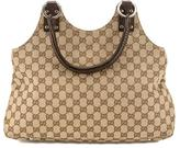 Gucci Brown Leather GG Monogram Tote Bag