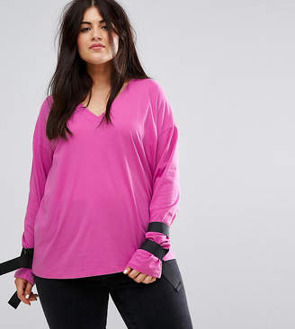Asos T-Shirt with D-Ring Tie Details-Pink