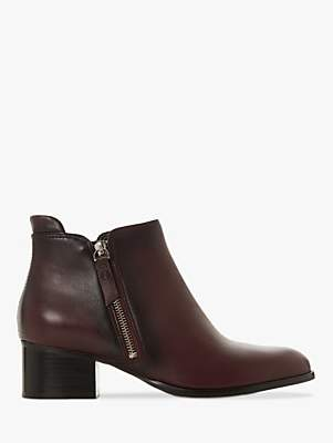 Dune Pericle Zipped Block Heel Ankle Boots, Burgundy Leather