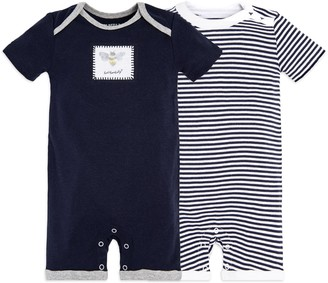 Burt's Bees Baby Baby Boys' Short Sleeve Rompers 2-Pack 100% Organic Cotton One-Piece Coverall