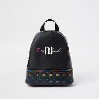 River Island Girls black rainbow monogram backpack