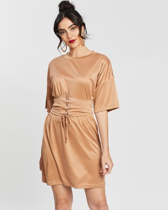 Missguided Oversized SS T-Shirt Dress with Corset